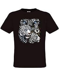 Ethno Designs White Tigers - Tigre T-shirt pour filles et garcons - Motif animaux sauvages - Félidés- regular fit