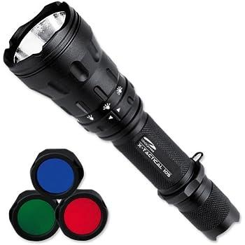 LiteXpress X-Tactical 105 Taschenlampe mit Hochleistungs-LED bis zu 550 Lumen, 6 Leuchtmodi und 3 verschiedenen Farbfiltern, schwarz LXL448001