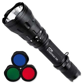 Litexpress X-Tactical 105 Lampe torche Jusqu'à 550 lumens/6 modes 3 lentilles de couleur incluses/interrupteur multifonction