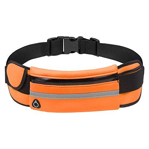 Running Gürtel, wasserdicht Fanny Pack Taille Tasche für Laufen Radfahren Gym Wandern und Reisen–One Size Passend für alle Orange