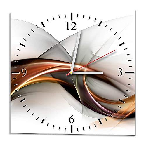 Ramix Glasuhr - Curve - Uhr aus Glas 30x30cm - Glasuhr mit Motiv - Wanduhr aus Glas - modern - Ausgezeichnete Dekoration für Küche, Wohnzimmer und Flur - Dekoration
