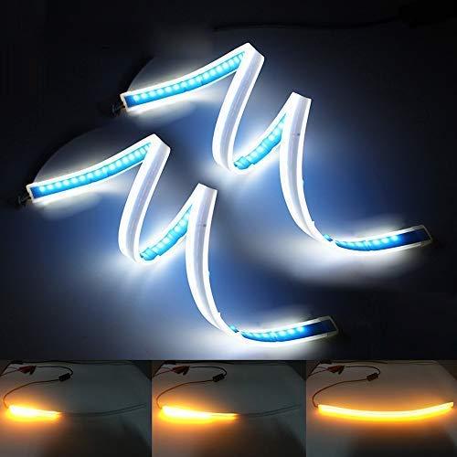 XINFOK - Tira de luces LED de circulación diurna para coche, color blanco ámbar, impermeable, flexible, luz LED DRL, luz de giro de luz LED ultra delgada