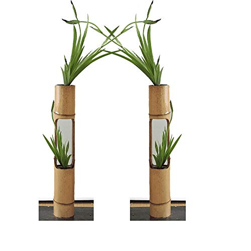 RARE PRODUCTS Bamboo Hand Made Beauty Planter Hanging Vertical Wall Type (Natural Colour) - Set of 2