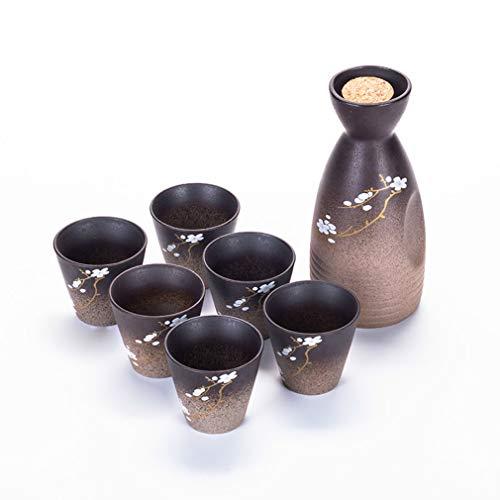 Miruike Japanische Sake-Becher-Set für Thanksgiving handbemalte Keramik-Sake-Topf, Weihnachtsgeschenk, 7 ()