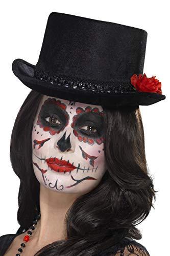 Smiffys Damen Tag der Toten Zylinder mit Rosen, -