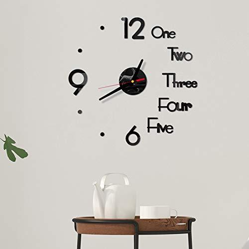 OGGID Reloj de Pared Adhesivo de Acrílico Movimiento Silencioso,3D DIY Reloj de Diseño Moderno Espejos...