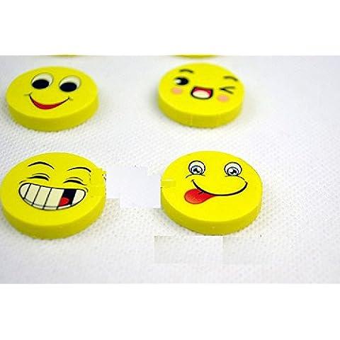 Xjoel borrador de goma lindo Kawai Smiley de la escuela para niños 4pcs Suministros papel de regalo (1 paquete)