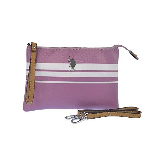 U.S.POLO ASSN. Borsa pochette con tracolla 26.5x3x17.5 cm Rosa - Bianco