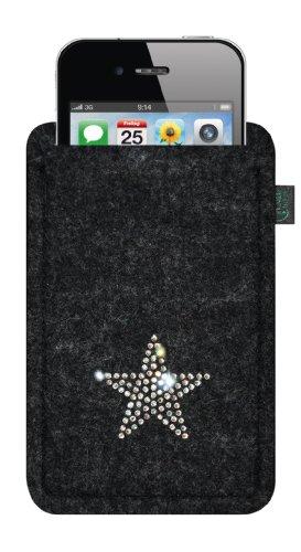 Feltro custodia per iphone 4/s ,3, antracite, con stella in cristalli swarovski®;