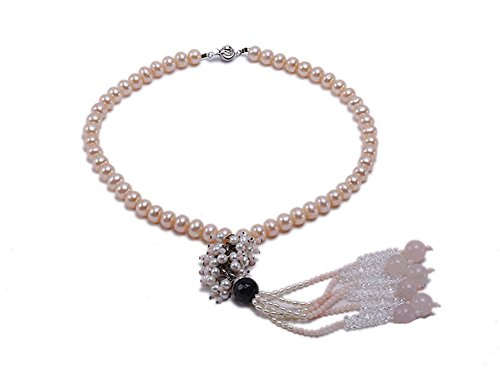 jyx Natural Pink Rund Flach 8–9mm Süßwasser-Perle mit schwarz Achat pink koralle und weiß Kristall Halskette 41,9cm (Länge Rock Seide Mitte)