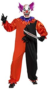 "Smiffys-33474S Bobo Disfraz del Payaso Scary Bo de Cirque Sinister, con Traje Entero y Careta, Color Rojo, S-Tamaño 34""-36"" (Smiffy"