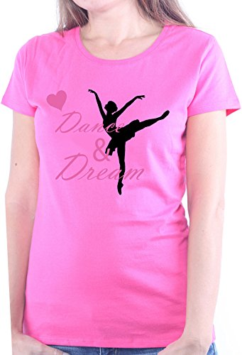 Mister Merchandise Ladies Damen Frauen T-Shirt Dance & Dream Tee Mädchen Bedruckt Pink, M (Tänzerin Damen-pink T-shirt)