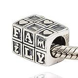 Famille Charm argent sterling 925Amour Charm cœur Charm lettre Charm pour bracelet à breloques Pandora
