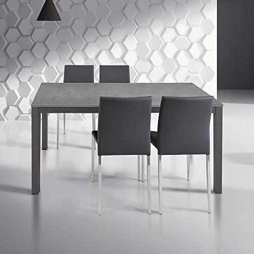 Milanihome tavolo da pranzo moderno di design allungabile cm 80 x 140/200 rovere grigio per sala da pranzo cucina ristorante