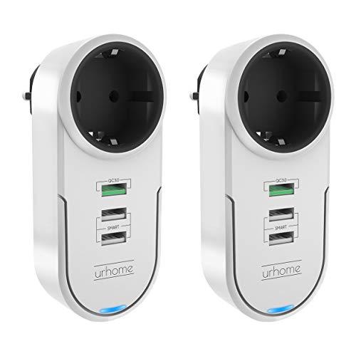 Urhome® 4in1 Steckdosen-Adapter I 180° drehbar I 3x USB (1x 3.0 Fast Charger) 2x in Weiß - Drehbare Steckdose Mit Überspannungsschutz