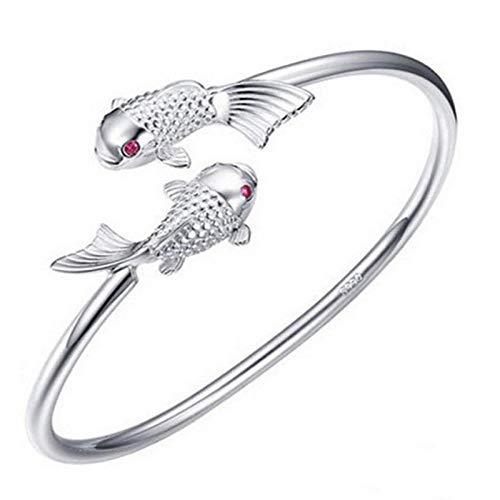 FHIKLW bracelet Armband,Mode Mädchen Persönlichkeit Tier Silber Armband Mit Zirkon Red Eye Doppel Fisch Armband Gesetzt - Con Gesetzt