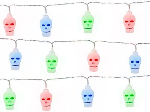 Neu LED Lichterkette Kürbis Totenkopf Happy Halloween, 2 Meter lang - Girlande Kürbis Totenkopf Wimpelkette, LED-Effekt - Banner Deko Horror Dekoration (GIR-03 Totenkopf ()