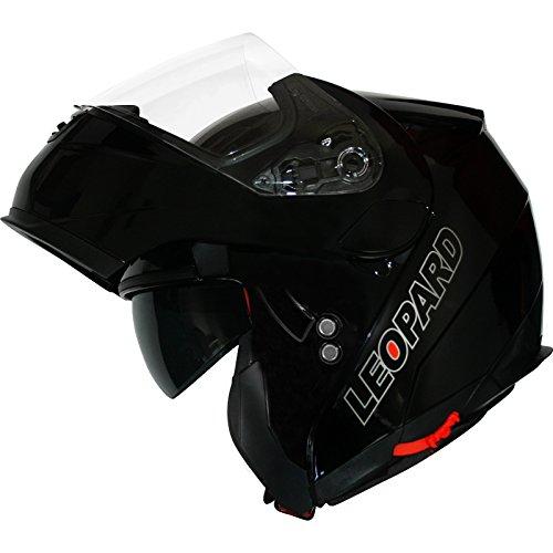 Leopard-LEO-838-Casco-Apribili-e-modulari-Moto-Motocicletta-ECE-22-05-Approvato-con-Doppio-Visiera-Gloss-Black-S55-56-cm