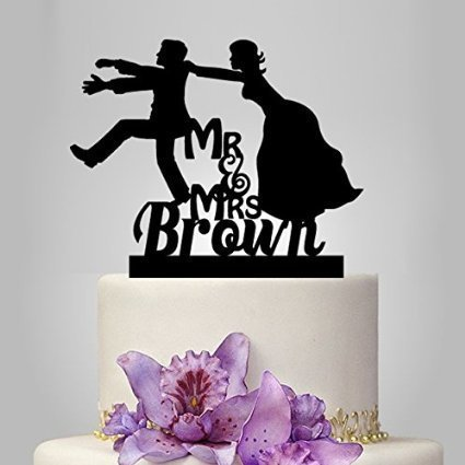 Mr and Mrs Cake Toppers Funny Cake Toppers Bride and Groom Silhouette Personalised Cake Topper with
