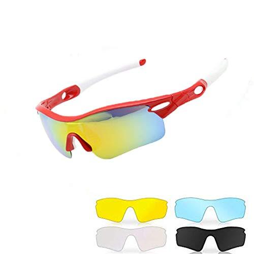 Easy Go Shopping Polarisierte Sportschutz-Radsportbrille mit 5 auswechselbaren Gläsern für Männer Frauen Outdoor-Aktivitäten Brille Sonnenbrillen und Flacher Spiegel (Farbe : Red and White)