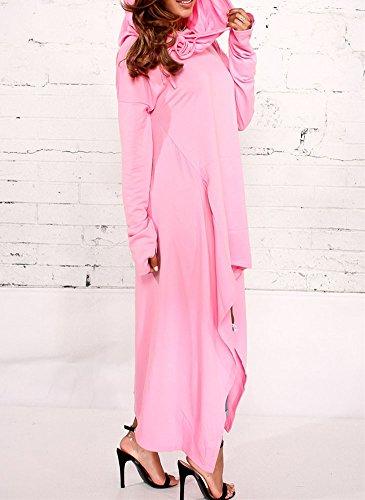 Femme Hoodie Sweat-shirt Oversize Décontracté Pullover Sweatshirts Irrégulier Haut Bas Robe Manche longue Tunique Longue en Vrac Robe en Jersey Grande Taile Rose