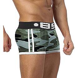 JMETRIC Maillots de Bain Hommes Sexy Coton Respirant Camouflage Quatre-Cornes Culottes pour Maillot De Bainpour Planches À Surf Short Boxer Maillots De Bain Joyeux
