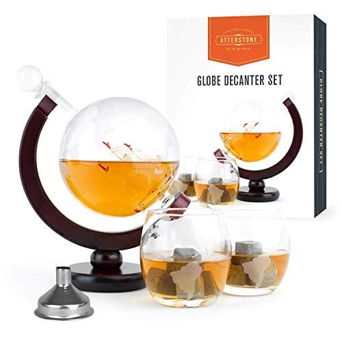Atterstone Whisky-Dekanter-Set I 850ml Geschenkset mit Globe Gläser, Whiskeysteine und Edelstahl-Trichter