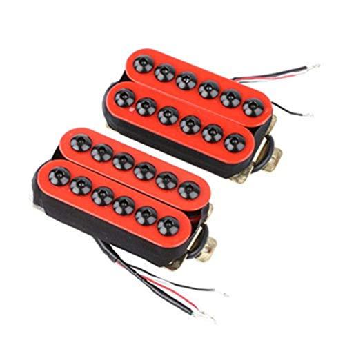 HEALLILY 2 teile/satz E-gitarre Doppelspule Pickup Black Dot Hohe Klangqualität für Gitarre Teile (Rot)