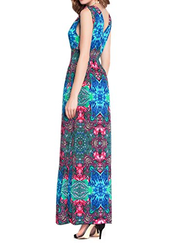 sourcingmap Damen Tiefer V-ausschnitt Elastisch Hüfte Bedruckt Maxi Kleid rot-Neuheit Muster
