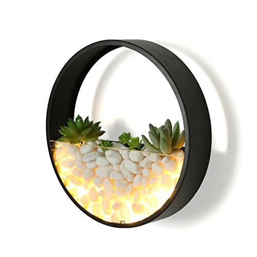 Wandleuchte Wandmontiert Schlafzimmer Kamin Schmiedeeisen Runde LED Nachttischlampe Stein Lampe Wanddekoration Lampen (Farbe : Schwarz)