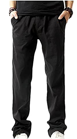 Fulok Mens Breathable Linen Thin Outdoor Baggy Straight Leg Pants Small Black