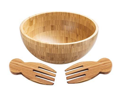 Strova Salatschüssel aus Bambus mit 2 Servierutensilien (3-teilig) groß, natürliches Holz, Geschirr für gehacktes Gemüse, Obst, Snacks, Vorspeisen, vielseitig einsetzbar in der Küche -
