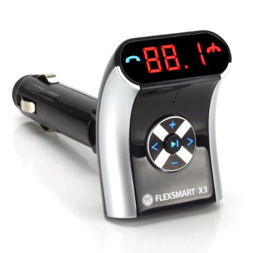 GOgroove Transmisor FM Bluetooth Coche Mechero Micrófono Manos Libres Música y Cargador USB - Compatible con Motorola Nuevo Moto G , E / BQ Aquaris E4.5 / XIAOMI Hongmi Note 4G LTE Snapdragon / y muchos otros Móviles , Tablets , Reproductor de mp3