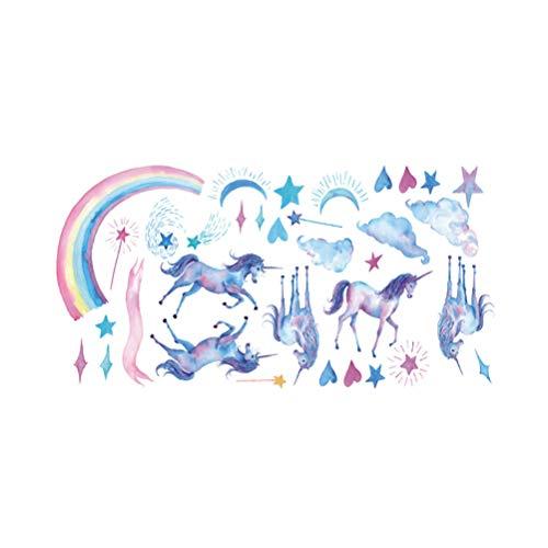 LUCHA Einhorn Wandaufkleber, Pferd Einhorn Aufkleber mit Wolken Mond Stern Regenbogen Wolke Aufkleber Märchen Wandaufkleber für Kinderzimmer Heimdekoration -