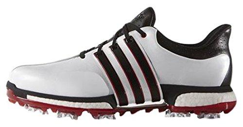 adidas Herren Tour360 Boost Golfschuhe, Weiß (White/Dark Silver Metallic), 45 1/3 EU