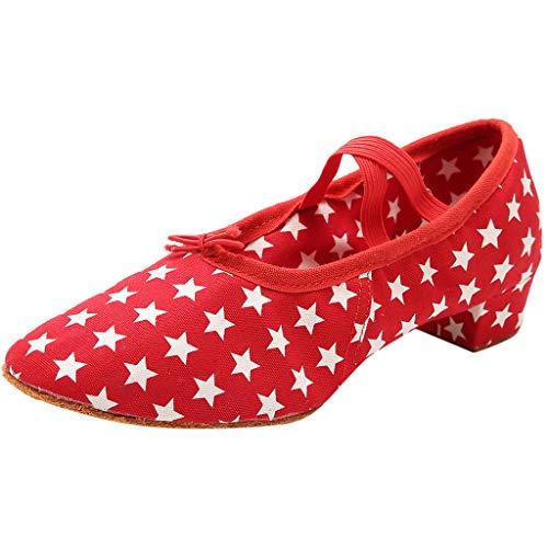 Lcjkasdnfindjgttio Tango Latin Jazz Schuhe Damen Dot Schuhe Modern Dance Schuhe Ballroom Dance Schuhe Damen Schuhe Professional Cross Belt Latin Salsa Tango Ballsaal Modern Dance Schuhe (38, Rot) Dance Dot