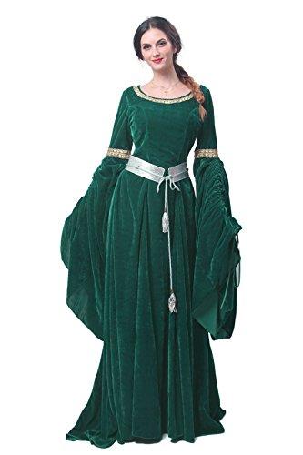 hes Damen Kostüm, Karneval Cosplay Party Kleid, Langarm Mittelalter Abendkleid mit Renaissance Gotisch Stil, Rundhalskleider ()