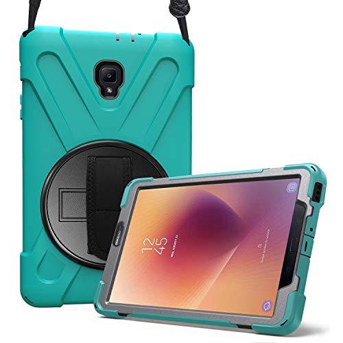 ProCase Galaxy Tab A 8.0 (T380 / T385) 2017 Hülle Handschlaufe Case, Robust Heavy Duty Stoßfest Hybrid Full Body Schutzhülle Cover, mit 360°Drehständer und verstellbar Riemen Schultergurt -Teal (Samsung Cover 8 Für Zoll Tab 3)