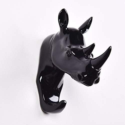 en Wand hängen tierkopf Wand Kleidung Shop Kleidung schlüssel Haken tür geweih Ornament Rhinoceros schwarz ()