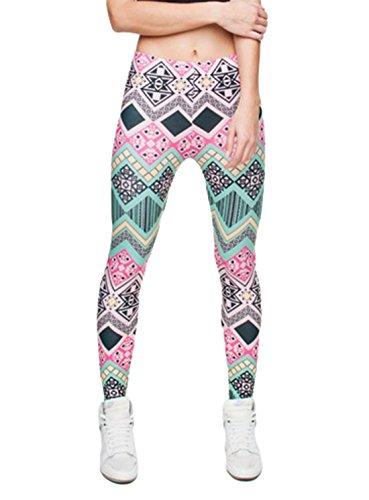 DD.UP Damen Strumpfhose Sport Print Yoga Leggings Workout Fitness Running Pants Mehrfarbig Style-023