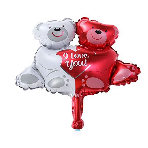 PRETYZOOM Folienballons Bären Form Ich Liebe Dich Ballons Heliumballons für Hochzeit Geburtstag Jubiläum Party Supplies Decor (Dich-ballon Ich Liebe)