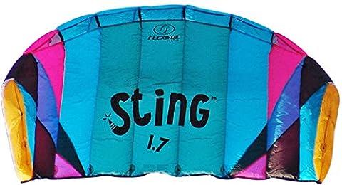 Aile 4 lignes Flexifoil 1,7m2 Power kite avec garantie de 90 jours Satisfait ou Remboursé! Sting Sport Foil est conçu par le recordman du monde et créateur de Powerkite – Sécurisé, Fiable et Résistant pour une utilisation familiale du Powerkite, Entrainement Kite et Introduction à la pratique avec aile de traction.