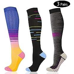 JELLAS Paquete de 3 Calcetines de Compresión para Hombre y Mujer 20-30 mmHg Deporte, Rendimiento recuperación, Embarazo, Enfermeras, calambres en Las piernas S/M