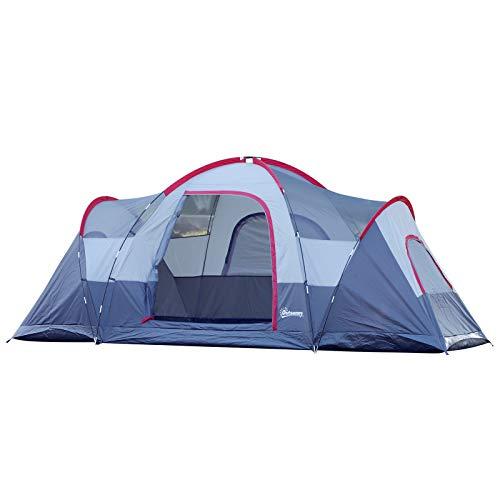 Outsunny Zelt für 5-6 Personen, Campingzelt mit Heringen, Tunnelzelt mit 3 Räumen, Kuppelzelt, Polyester, Grau, 4,55 x 2,3 x 1,8 m
