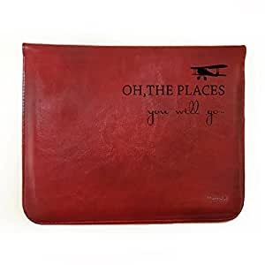 "Hamee Tan Brown Leather Tablet Case for Lenovo Yoga Tab 3 8 Tablet (8 inch) ""Places You Will Go"""
