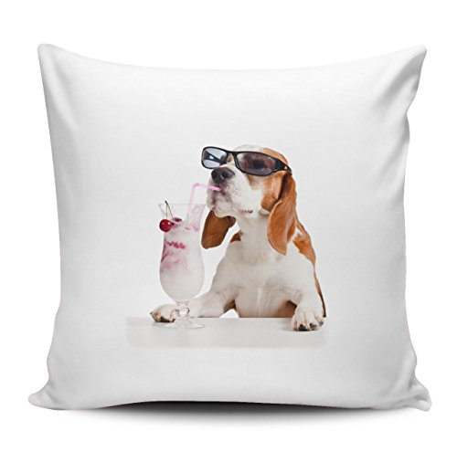 Kissenhülle/Kissenbezug 40x40cm - Motiv: Beagle mit Sonnenbrille und Eisbecher| 018