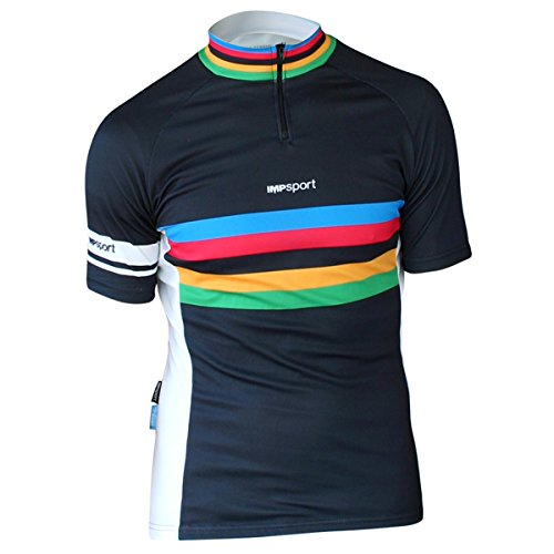 Impsport - Maillot ciclista negro/blanco banda arcoíris