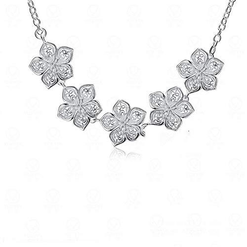 YFFSP Damen Halskette Sterling Silber Blume Anhänger Halskette Halskette Hochzeit Weihnachten Schmuck Für Frauen Mädchen 45 cm -