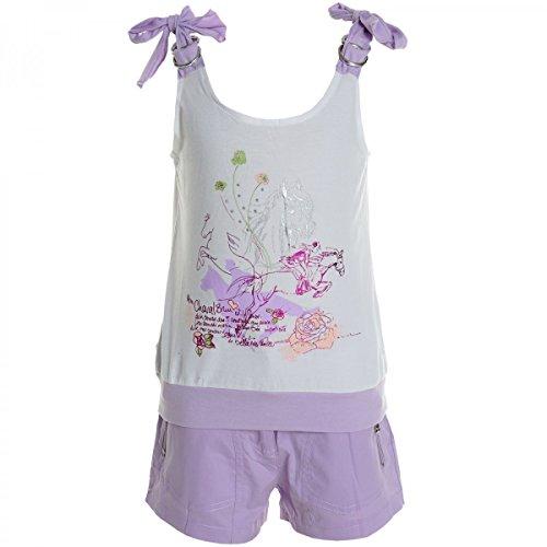 Kinder Mädchen Freizeit Kurzarm Shirt Jogging Hose Outfit (2 TLG Set) 20469 Weiß Größe 128