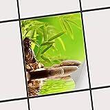 creatisto Dekorfliesen Designfolie | Fliesen-Aufkleber Folie Sticker Selbstklebend Küche renovieren Bad Wand Dekoration | 15x20 cm Design Motiv Buddha Zen - 1 Stück